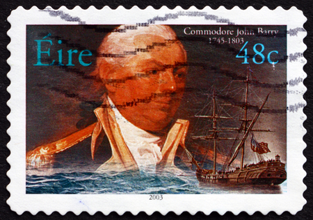 revolutionary: IRELAND - CIRCA 2003: a stamp printed in Ireland shows American Commodore John Barry, an Officer in the Continental Navy during the American Revolutionary War, circa 2003 Editorial