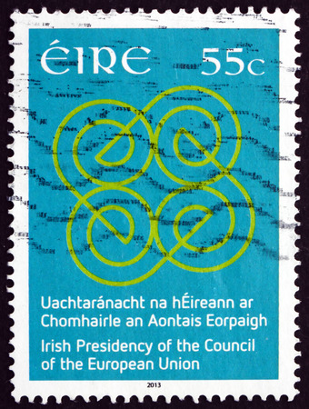 presidency: IRELAND - CIRCA 2013: A stamp printed in Ireland dedicated to Irelands presidency of the Council of Europe, circa 2013