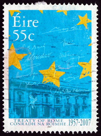 eec: IRELAND - CIRCA 2007: a stamp printed in Ireland dedicated to Treaty of Rome, is an International Agreement that Led to the Founding of the EEC, 50th Anniversary, circa 2007 Editorial