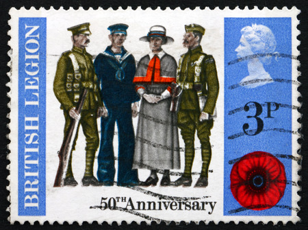 legion: GREAT BRITAIN - CIRCA 1971: a stamp printed in Great Britain shows Soldier, Sailor, Airman and Nurse, 50th Anniversary of the British Legion, circa 1971