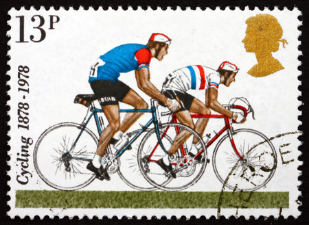centenary: GREAT BRITAIN - CIRCA 1978: a stamp printed in Great Britain shows Road Racers, Centenary of 1st National Cycling Organizations, circa 1978