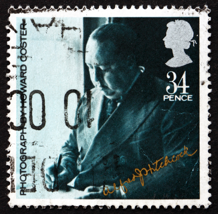 sir: GREAT BRITAIN - CIRCA 1985: a stamp printed in Great Britain shows Sir Alfred Hitchcock, Director, circa 1985