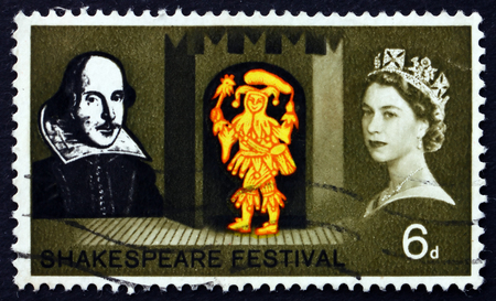 twelfth night: GREAT BRITAIN - CIRCA 1964: a stamp printed in Great Britain shows Feste the Clown, from Twelfth Night, Shakespeare Festival, circa 1964