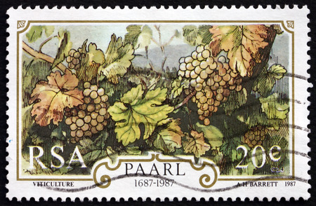 winegrowing: SOUTH AFRICA - CIRCA 1987: a stamp printed in South Africa dedicated to Winegrowing, circa 1987 Editorial