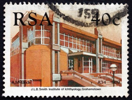 ichthyology: SOUTH AFRICA - CIRCA 1989: a stamp printed in South Africa shows Smith Institute of Ichthyology, Grahamstown, circa 1989 Editorial