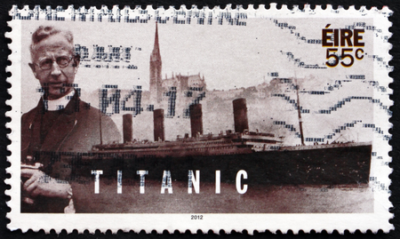 centenary: IRELAND - CIRCA 2012: a stamp printed in Ireland shows Pater Francis Browne, Photographer, Centenary of Titanic�s Sinking, circa 2012