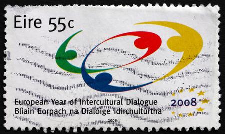 intercultural: IRELAND - CIRCA 2008: a stamp printed in Ireland dedicated to Europa Year of the Intercultural Dialogue, circa 2008 Editorial