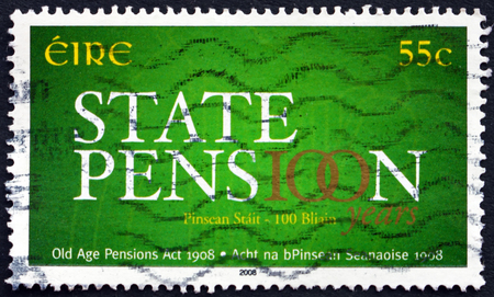 centenary: IRELAND - CIRCA 2008: a stamp printed in Ireland dedicated to Old Age Pensions Act, Centenary, circa 2008