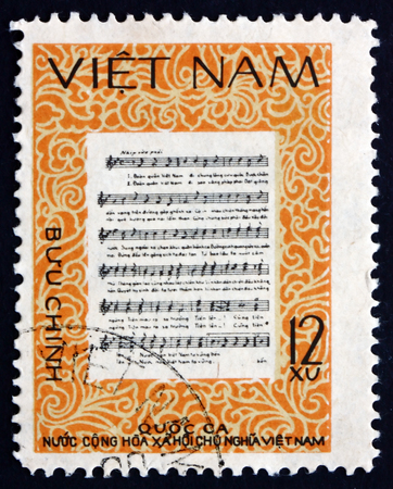 anthem: VIETNAM - CIRCA 1980: a stamp printed in Vietnam shows National Anthem, circa 1980
