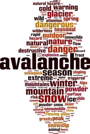 devastating: Avalanche word cloud concept. illustration Illustration