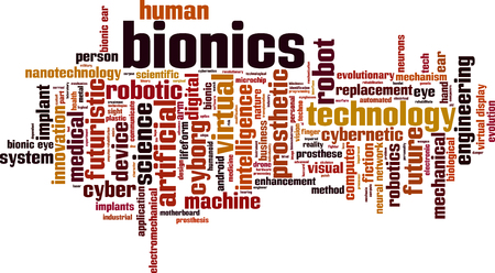 evolutionary: Bionics word cloud concept. illustration
