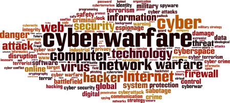 cyberwarfare: Cyberwarfare word cloud concept. illustration
