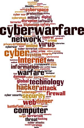 cyber warfare: Cyberwarfare word cloud concept.