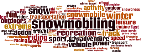 word cloud concept illustration: Snowmobiling word cloud concept. illustration