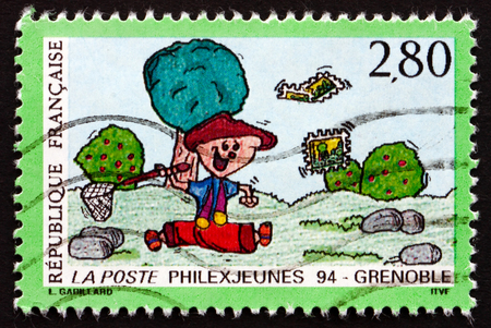 philatelic: FRANCE - CIRCA 1994: a stamp printed in France dedicated to Philexjeunes �94, Grenoble, Philatelic Exposition, circa 1994 Editorial