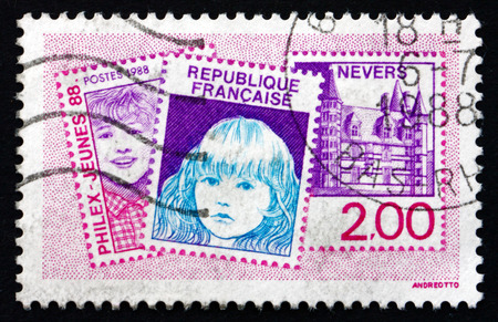 philatelic: FRANCE - CIRCA 1988: a stamp printed in France dedicated to Philexjeunes �88, Nevers, Philatelic Exposition, circa 1988