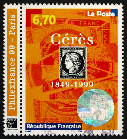 fertility goddess: FRANCE - CIRCA 1999: a stamp printed in France dedicated to the 1st French Postage Stamps, 150th Anniversary, Ceres, circa 1999