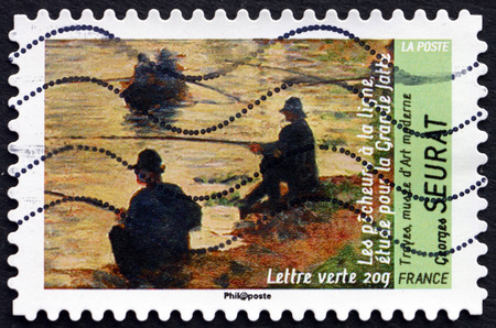 draftsman: FRANCE - CIRCA 2013: a stamp printed in France shows Fishermen, Painting by Georges Seurat, French Post-impressionist Painter and Draftsman, circa 2013