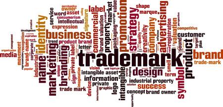 trademark: Trademark word cloud concept. Vector illustration
