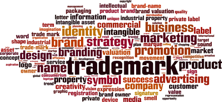 trademark: Trademark word cloud concept. Vector illustration
