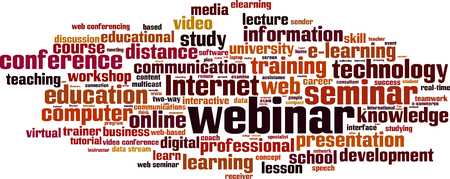 multicast: Webinar word cloud concept. Vector illustration