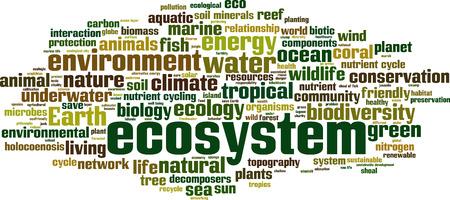ecosystem: la palabra de los Ecosistemas del concepto de la nube. ilustración vectorial