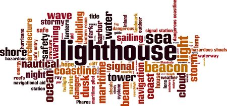 navigational light: Lighthouse word cloud concept. Vector illustration