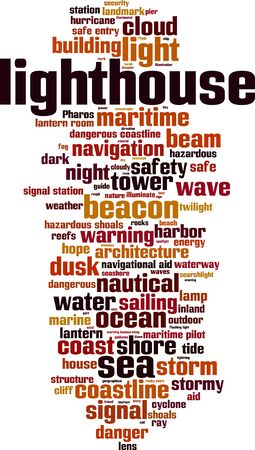 waterway: Lighthouse word cloud concept. Vector illustration