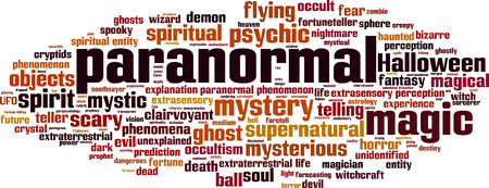 extrasensory: Paranormal word cloud concept. Vector illustration