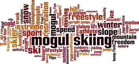 rotations: Mogul skiing word cloud concept. Vector illustration