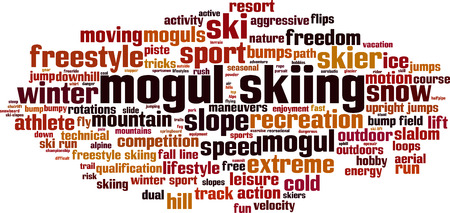 piste: Mogul skiing word cloud concept. Vector illustration