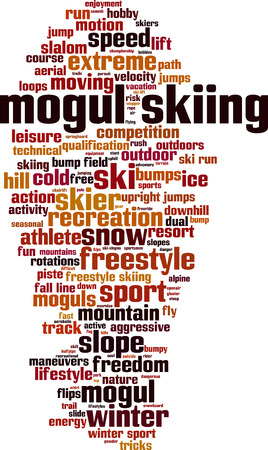 mogul: Mogul skiing word cloud concept. Vector illustration