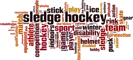paraplegico: Trineo de hockey de la palabra concepto de la nube. ilustración vectorial