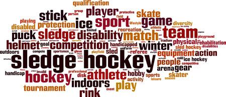 amputee: Sledge hockey word cloud concept. Vector illustration