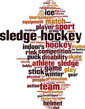 physical impairment: Sledge hockey word cloud concept. Vector illustration