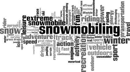snow climbing: Snowmobiling word cloud concept. Vector illustration