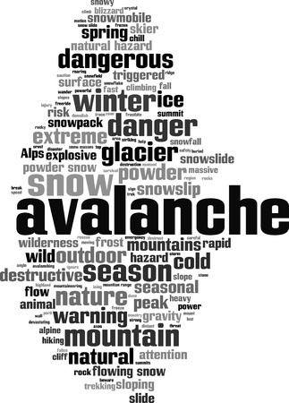 Avalanche word cloud concept. Vector illustration Illustration