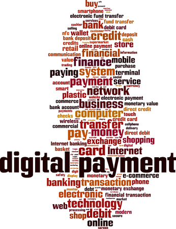 e systems: Digital payment word cloud concept. Vector illustration