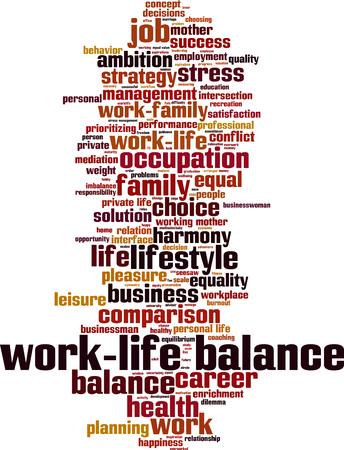 prioritizing: Work-life balance word cloud concept. Vector illustration Illustration