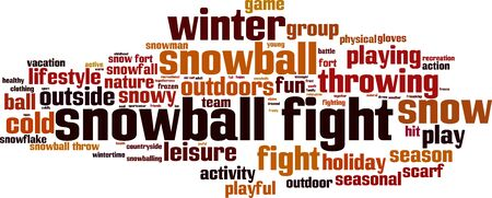 snowball: Snowball fight word cloud concept. Vector illustration Illustration
