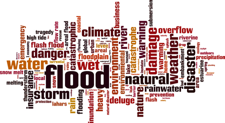 Flood word cloud concept. Vector illustration Ilustração
