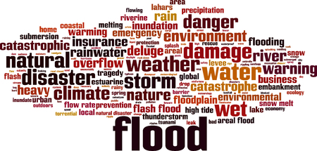 catastrophic: Flood word cloud concept. Vector illustration Illustration