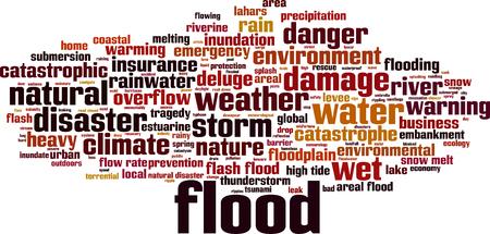Flood word cloud concept. Vector illustration Illustration