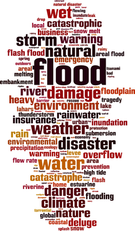 storm damage: Flood word cloud concept. Vector illustration Illustration