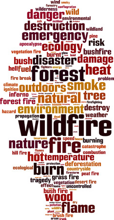 peat: Wildfire word cloud concept. Vector illustration