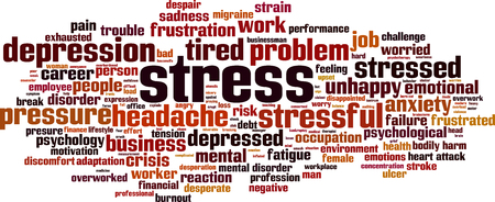 miserable: Stress word cloud concept. Vector illustration
