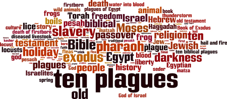 Ten plagues of Egypt word cloud concept. Vector illustration  イラスト・ベクター素材