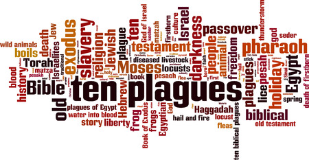 boils: Ten plagues of Egypt word cloud concept. Vector illustration Illustration