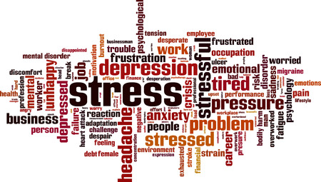 worry tension: Stress word cloud concept. Vector illustration