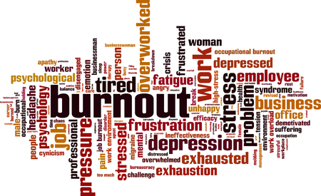 Burnout word cloud concept. Vector illustration Stock Illustratie